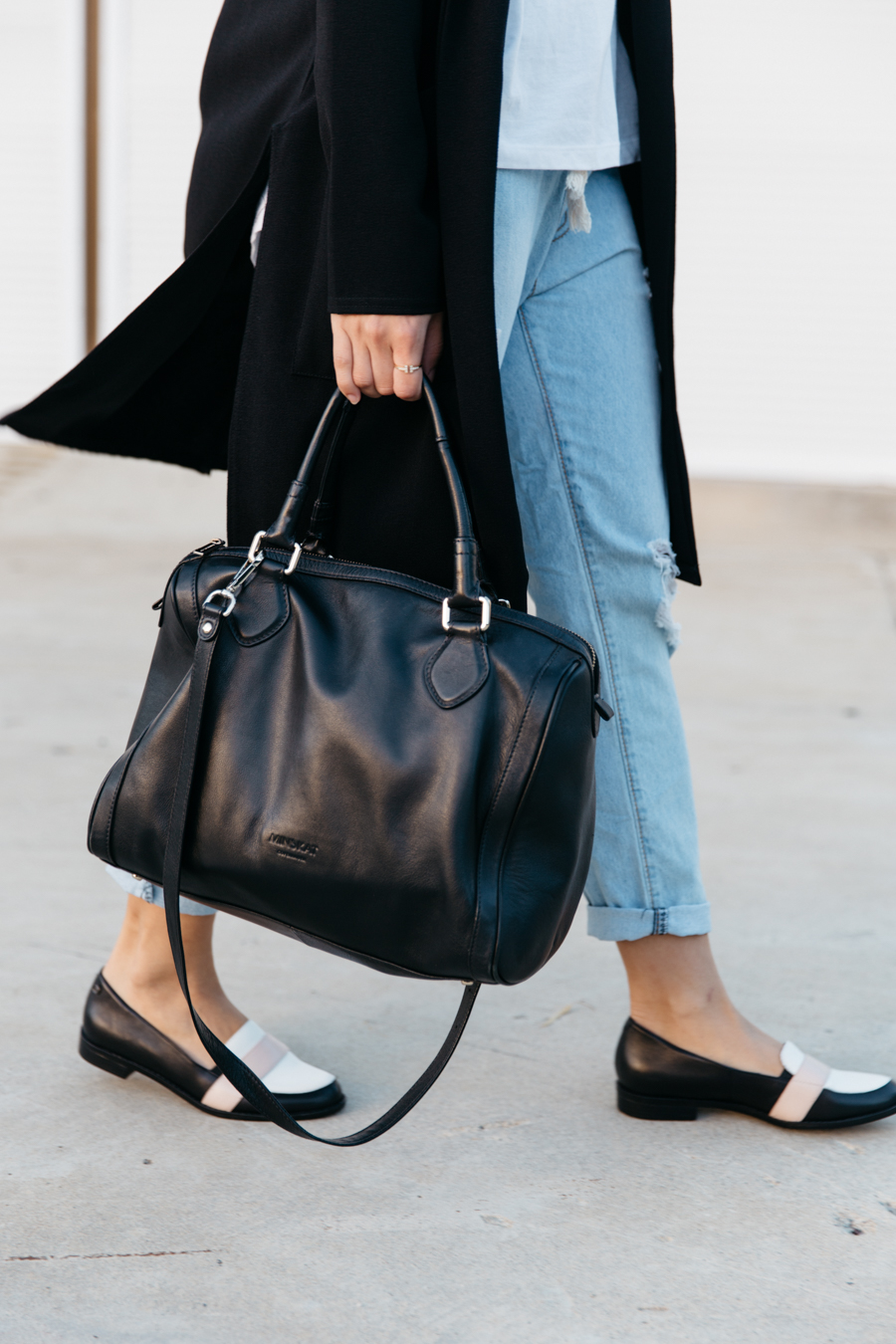 The perfect black leather bag.