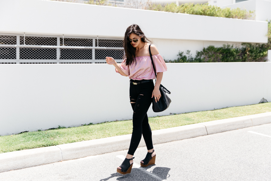 Black & pink style outfit from Boohoo.
