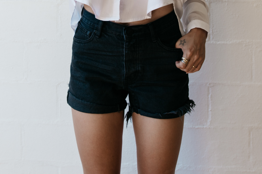 High waisted black denim ripped shorts.