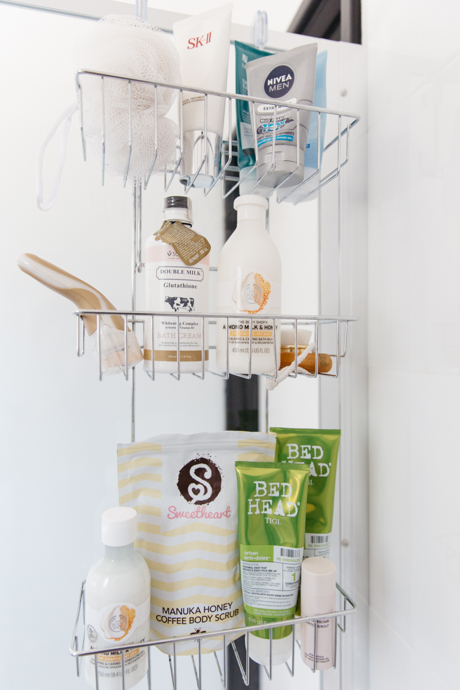Shower caddy favourites. How to organise your shower.
