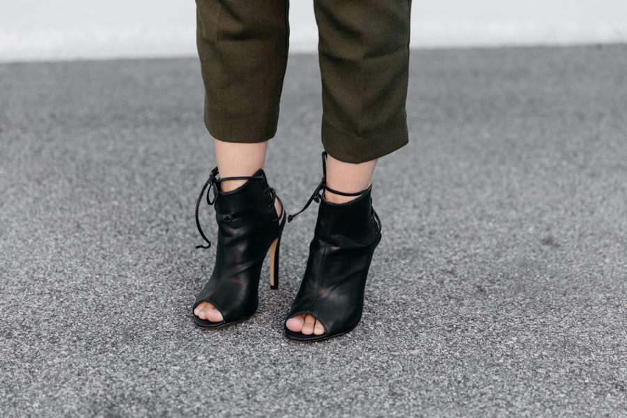 Black leather ankle boots. Peep-toe ankle boots.