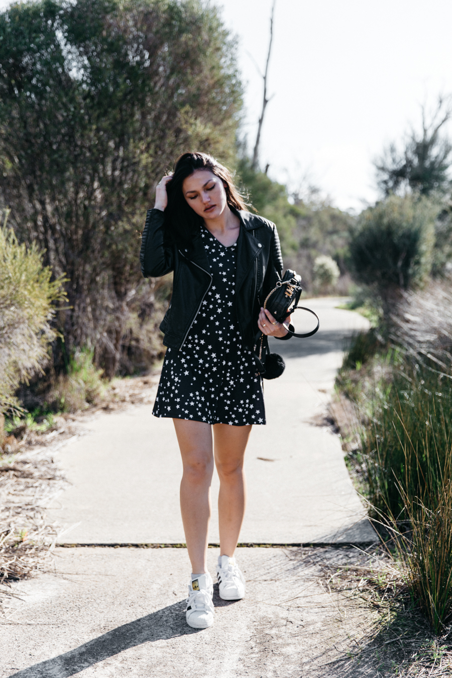 Star print dress outfit.