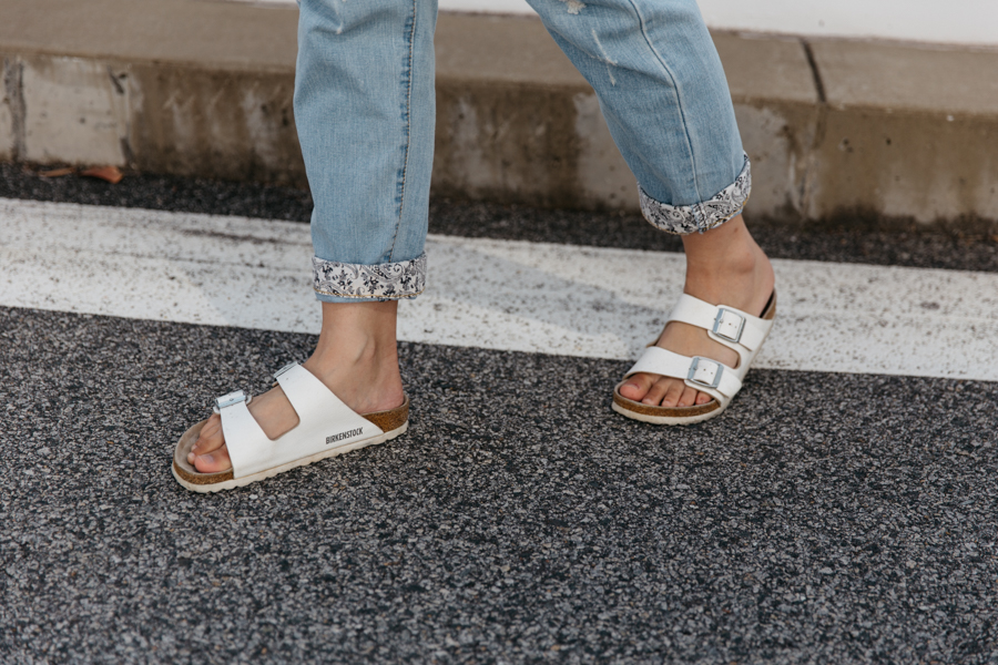 White Birkenstock sandals outfit.