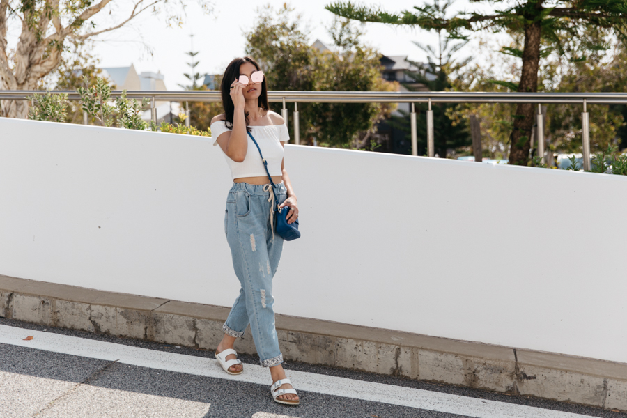 White off should crop top with boyfriend jeans & white Birkenstocks. Perth street style.