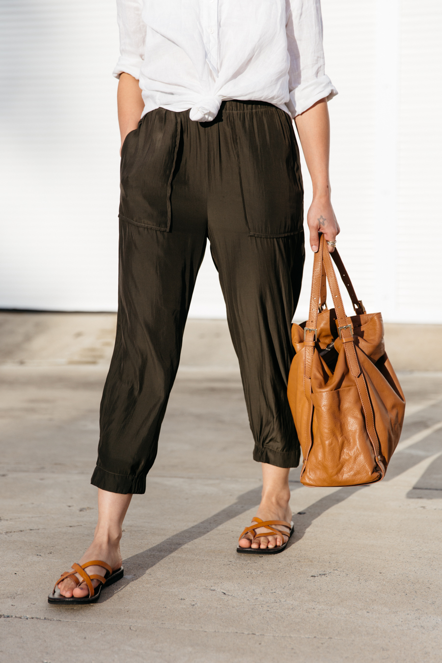 Japanese polyester pants with large pockets.