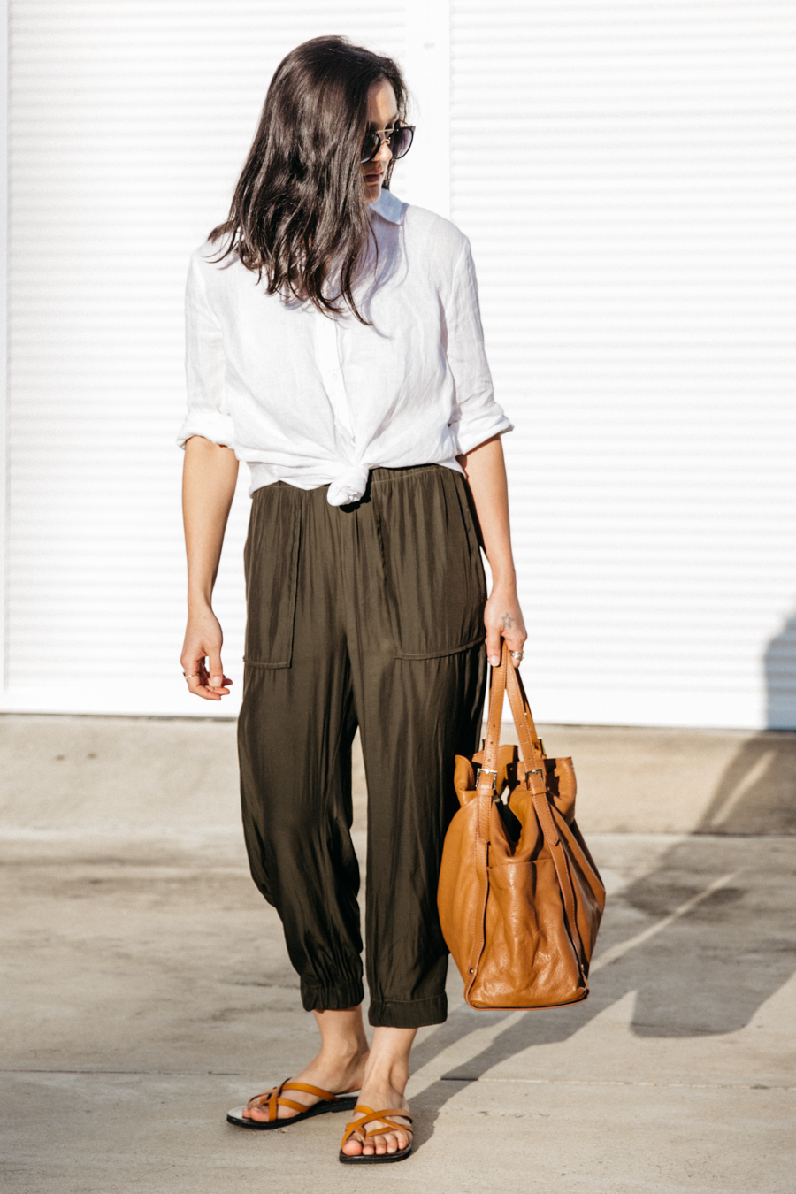 Linen shirt with silk pants in army green.