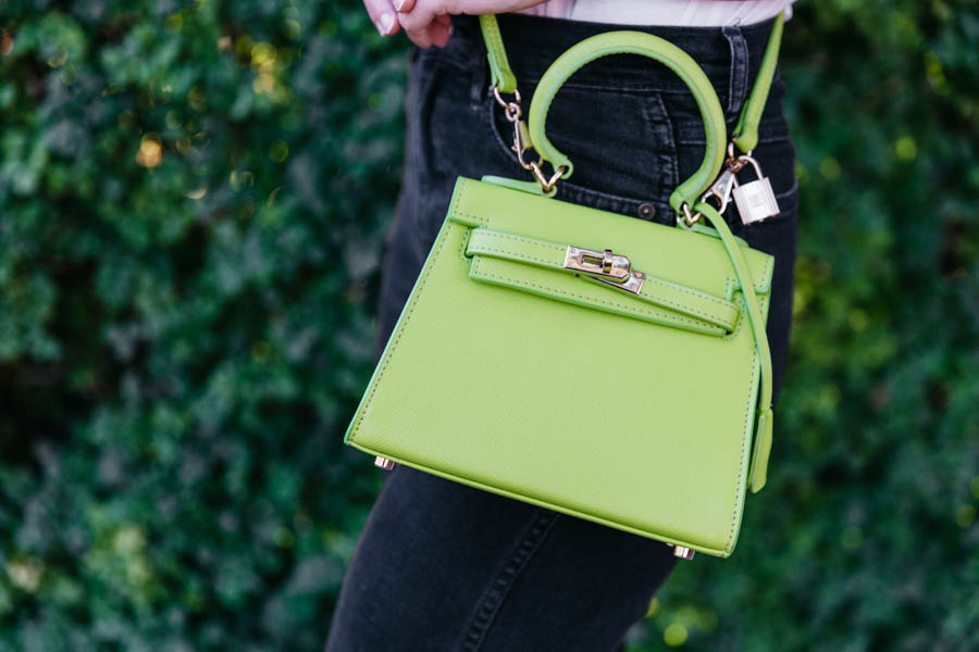 Eva leather handbag review. Rosaire Capucine handbag in lime green.