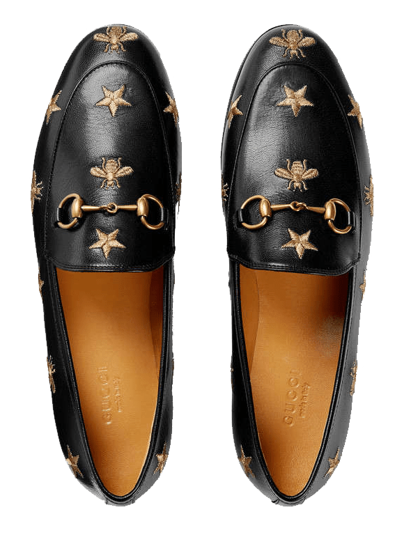 Gucci loafers. Bees stars Gucci flats.