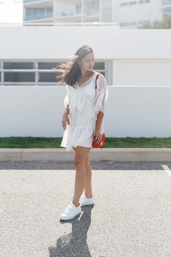 White lace summer dress outfit.