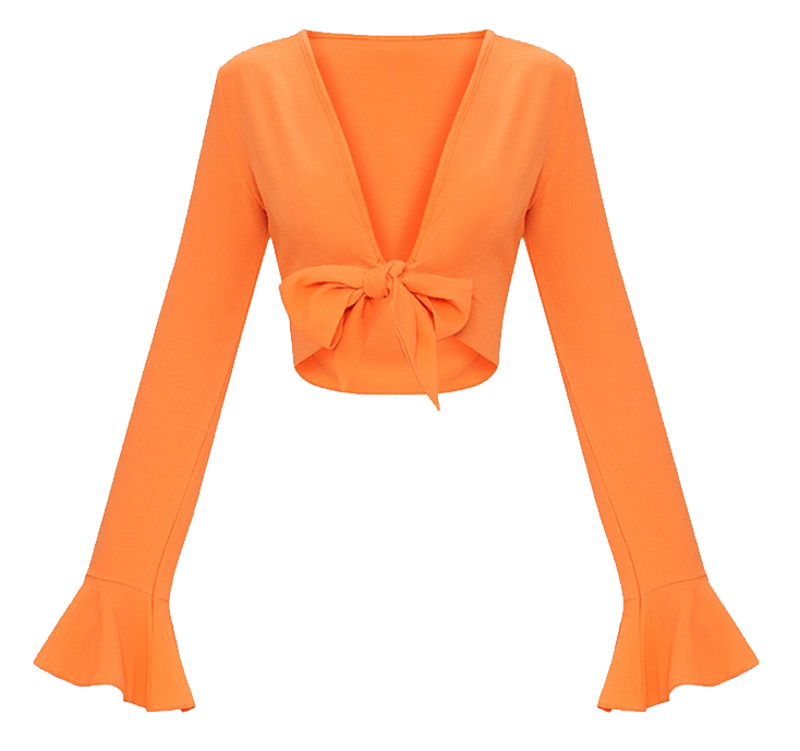 Orange bell sleeve crop top with front tie knot.