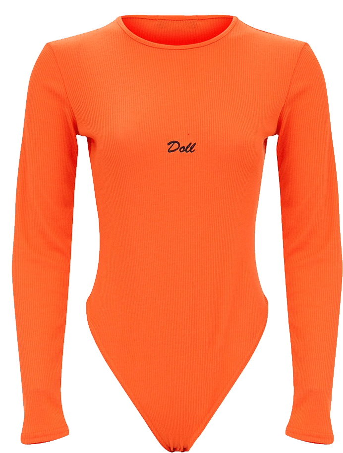 Orange Doll bodysuit with long sleeves.