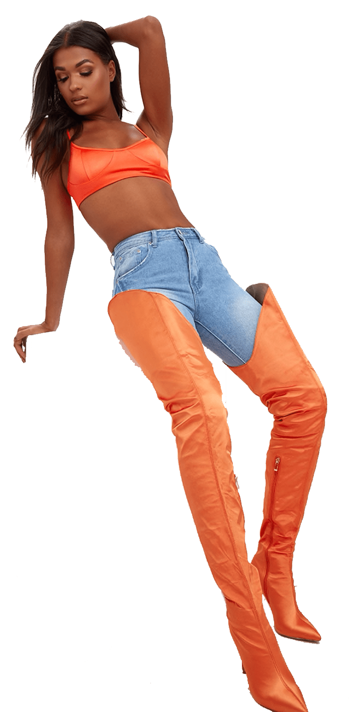 Orange over the knee thigh high boots.