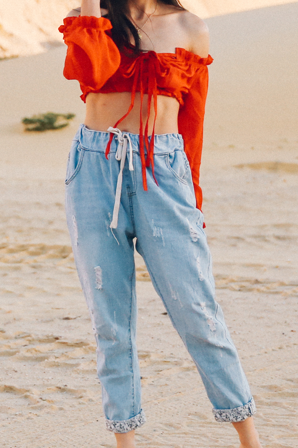 Drawstring denim boyfriend jeans.