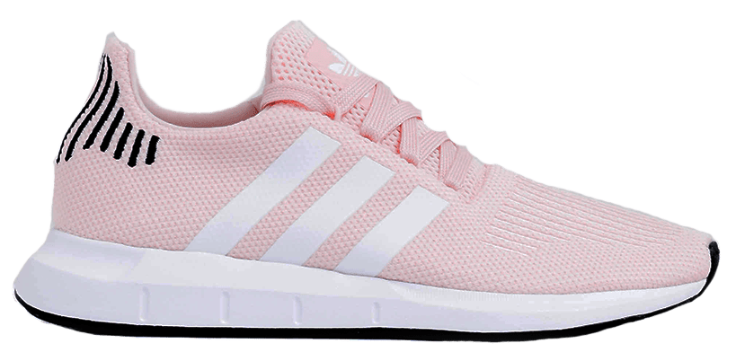 Baby pink Adidas sneakers.