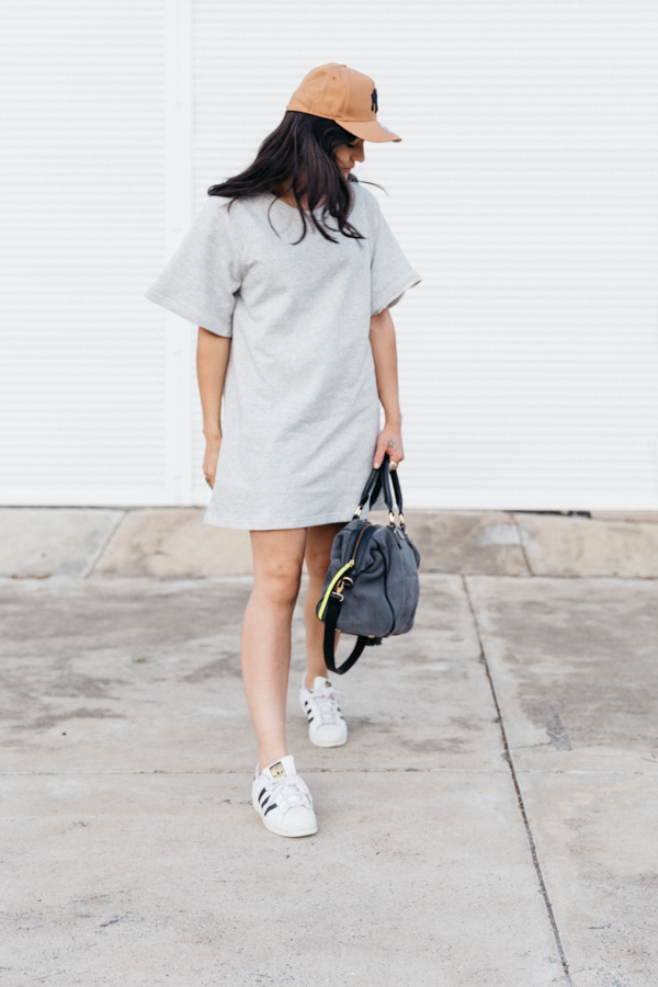 Grey Sportluxe dress outfit.