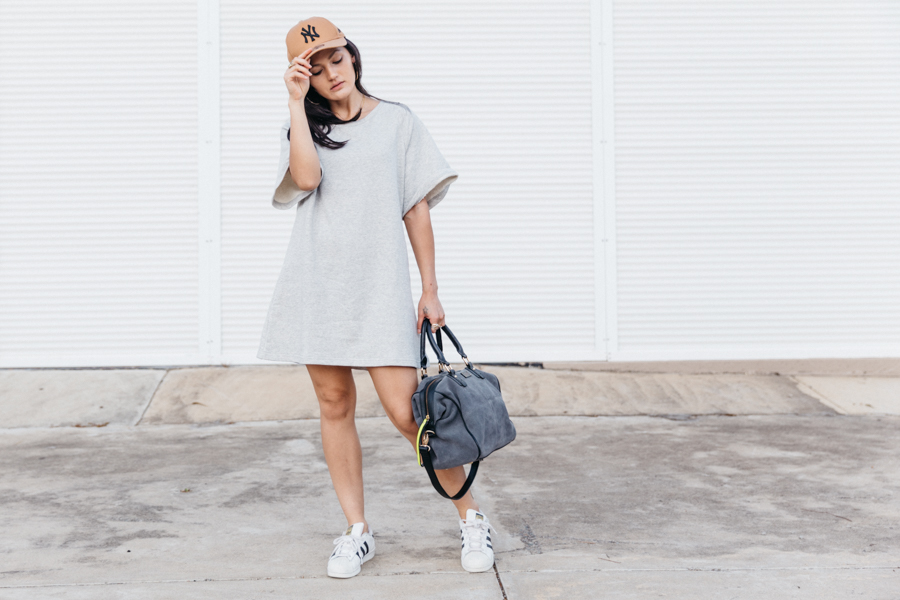 Casual activewear outfit. Dress with sneakers. grey Sportluxe outfit.