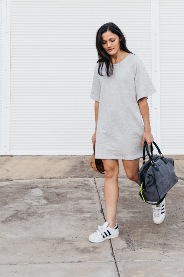Grey Sportluxe outfit. Dress activewear. Top Australian fashion blog.