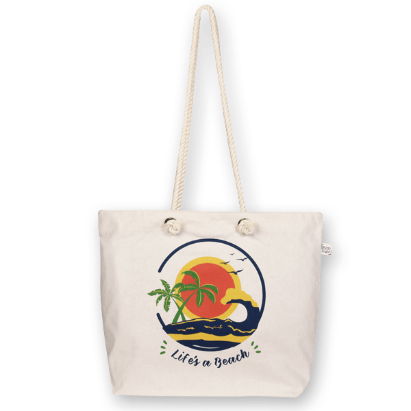 Life's a beach cotton tote.