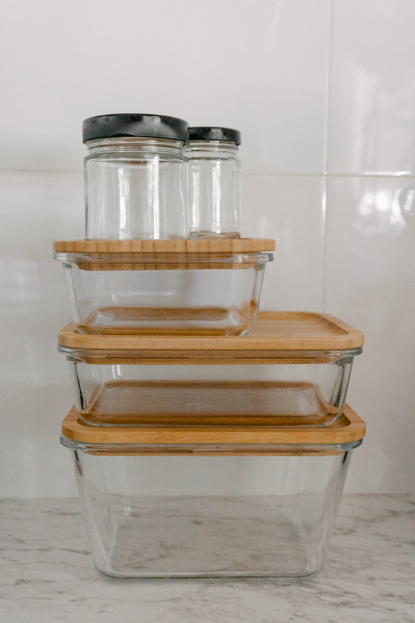 Ikea glass and bamboo food containers. How to reduce your waste. Low waste tips.