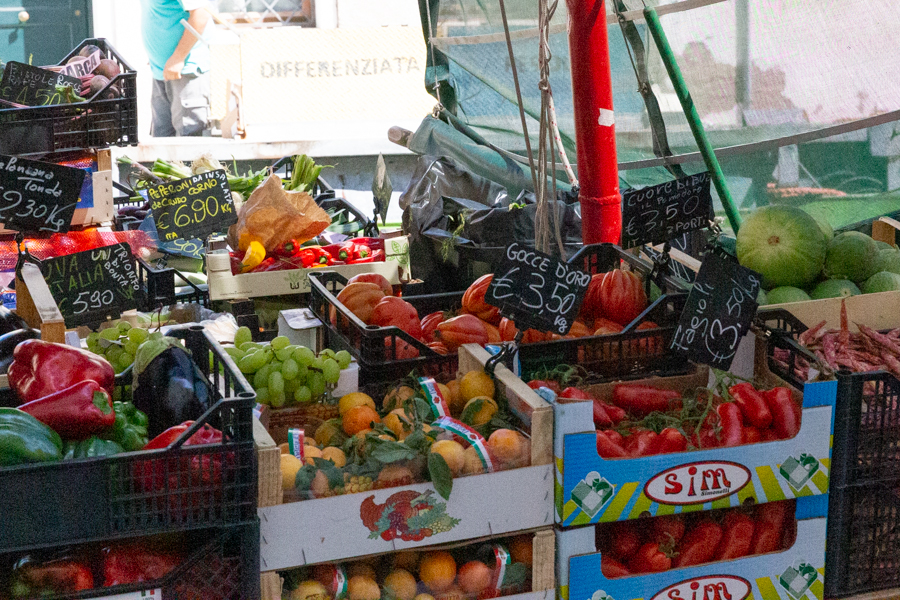 Fresh fruit and vegetables in Venice, Italy.
