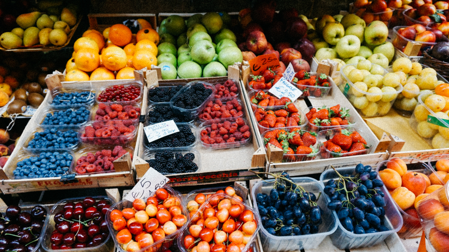 Fresh fruit and produce in Florence, Italy.