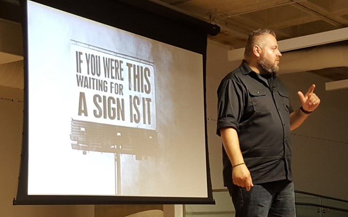 One of my favourite slides from John's talk at Tweetstock '16: If you were waiting for a sign, this is it.
