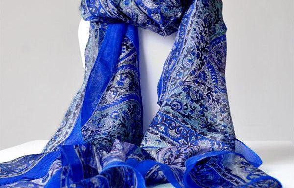 Foulards en Soie Bleu