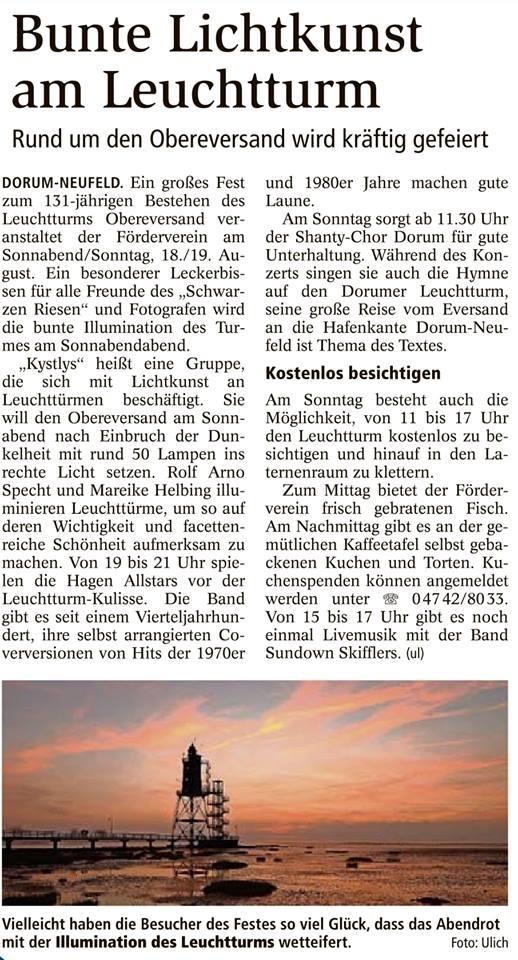 Pressebericht Nordseezeitung15.08.18