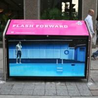 """magenta foundation: """"flash forward"""" recycling bins."""