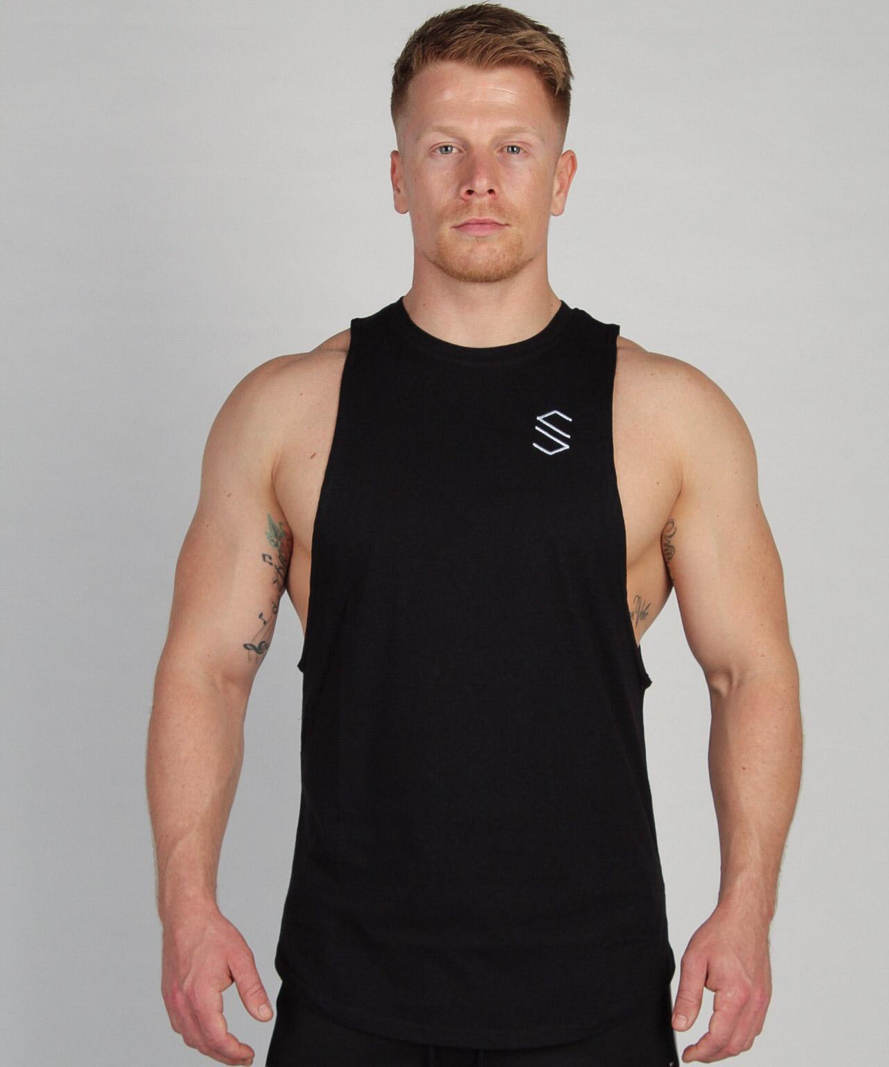 Shaped Split Cut Off T-Shirt - Zwart
