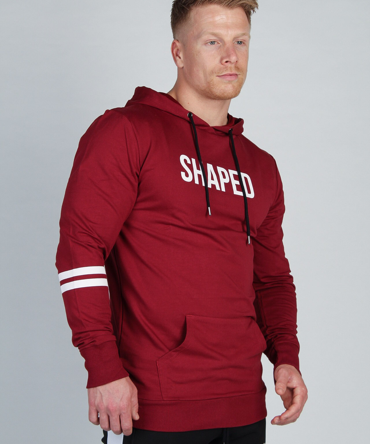 Shaped Striped Hoodie Red