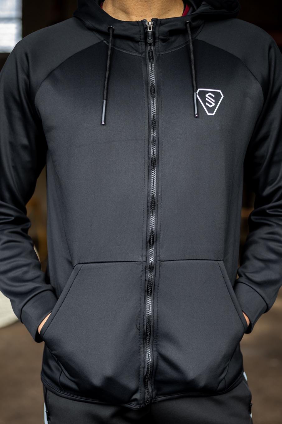 Heren vest dry fit zwart en grijs met capuchon hoodie