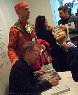 Webb's ICA launch: the author signing for Andrew Logan, eccentric and national treasure