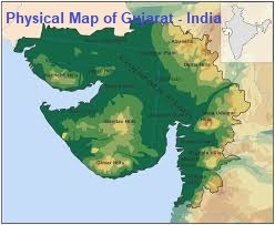 Gujarat location with physical features under Project on Integrating Chhattisgarh with Gujarat