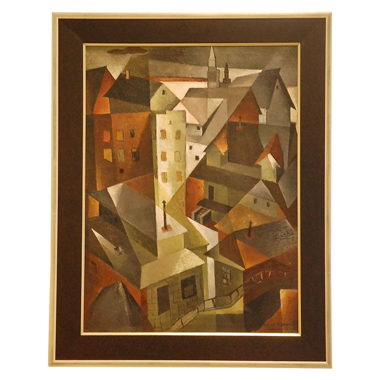 Cubist Oil Painting Roof Tops By Aileen Worthley At 1stdibs