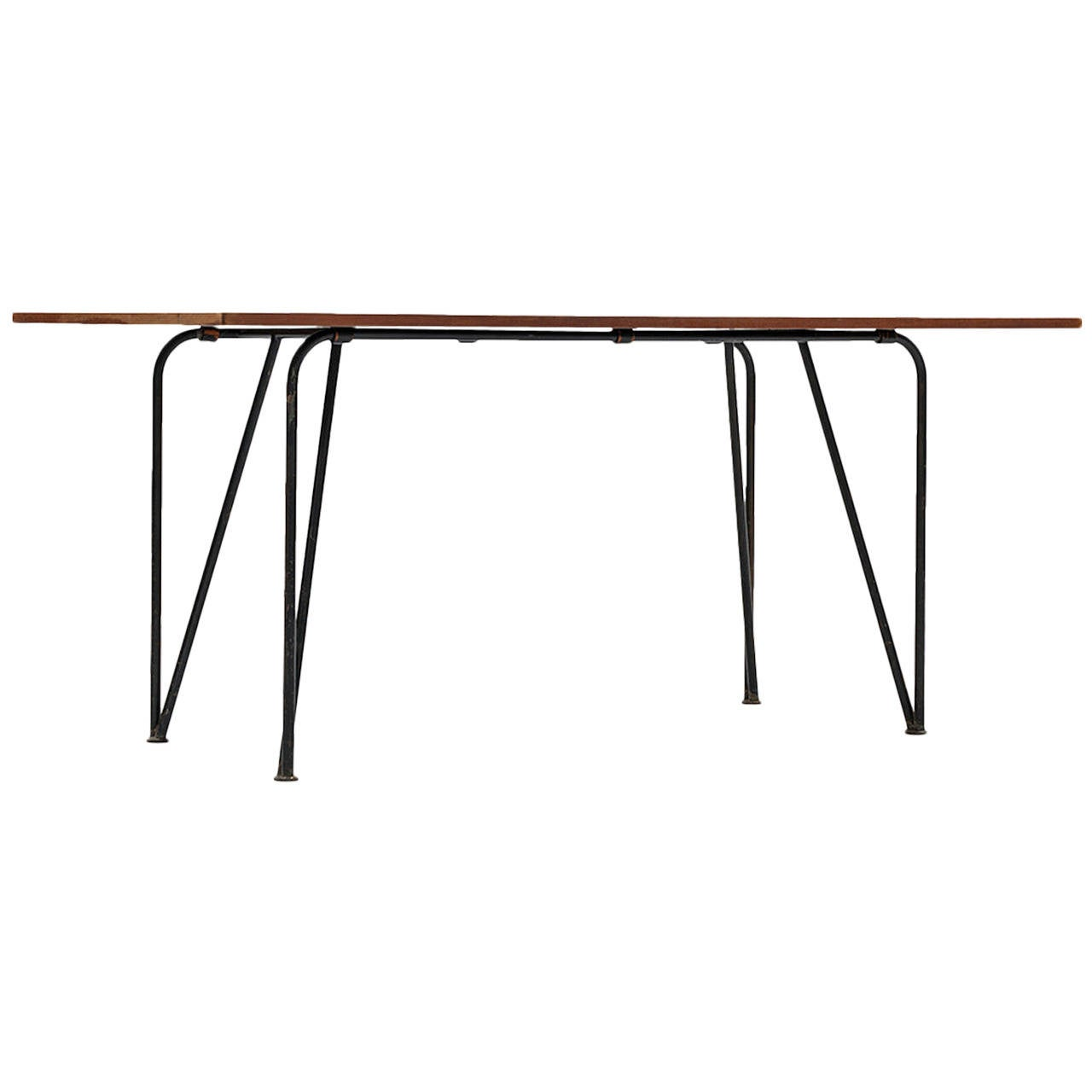 Mid Century Dining Table Desk In Black Lacquered Steel