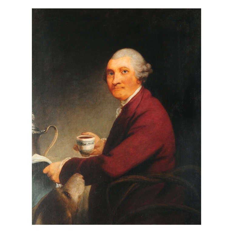 18thcentury  oil on canvas portrait of a gentleman drinking coffee.