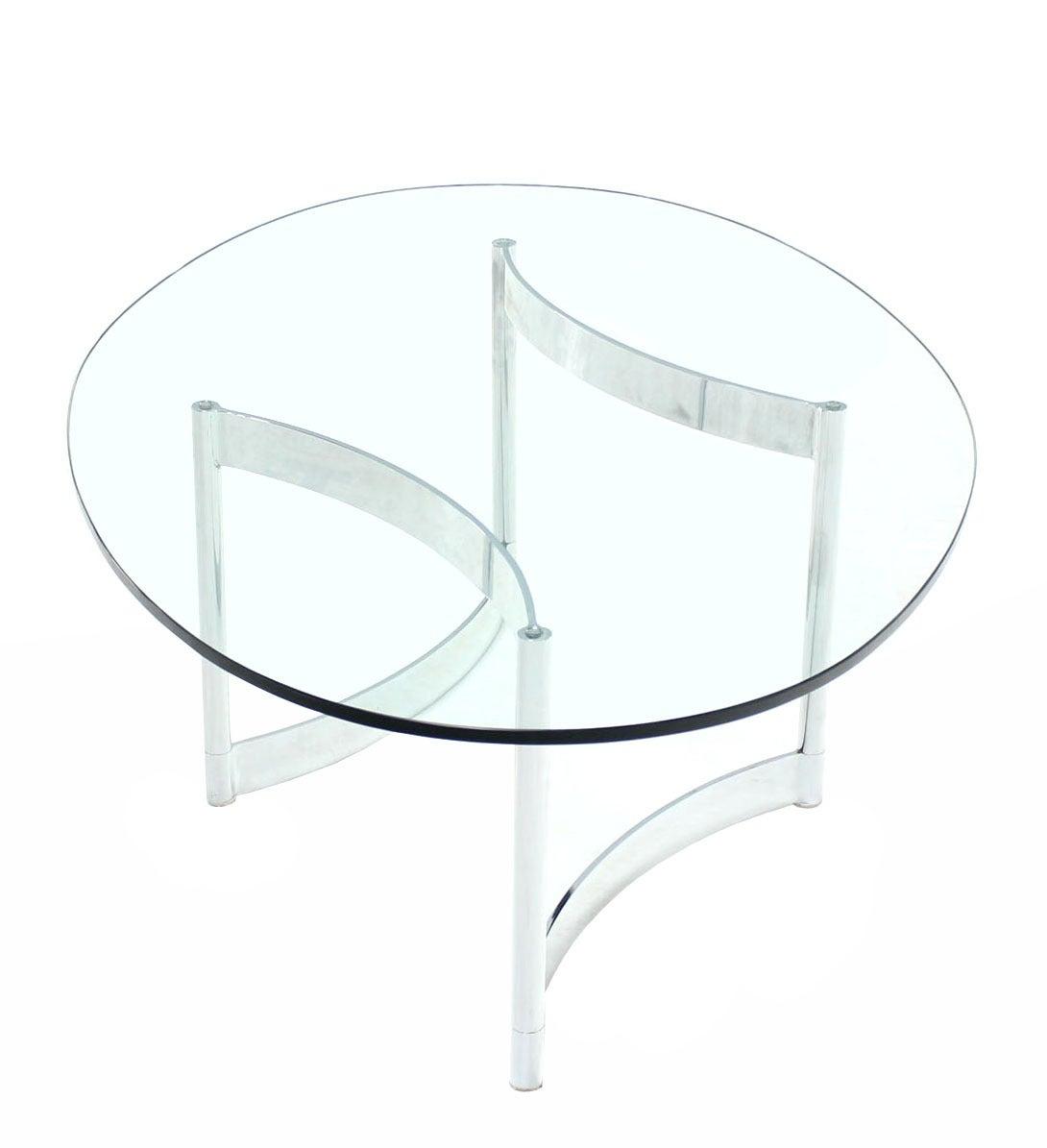 Chrome And Glass Oval Adjustable Base Coffee Table At 1stdibs