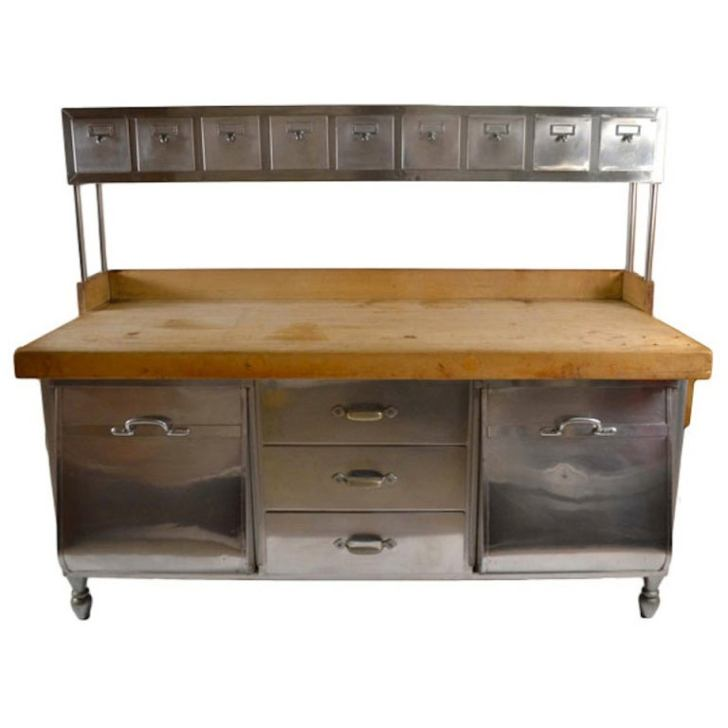 Stainless Steel Wood Kitchen Work Station Prep Table 1stdibs