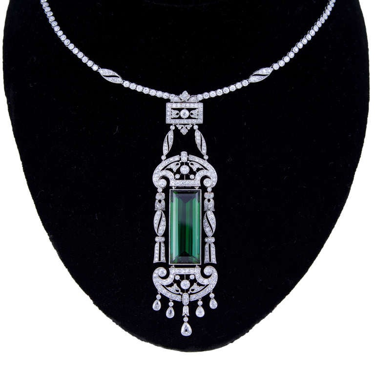 Superb Edwardian Dreicer & Co. New York Tourmaline Diamond Necklace image 3