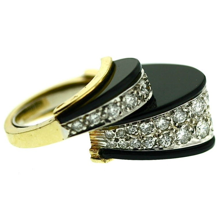 Unusual 1970s Diamond And Black Onyx Cocktail Ring At 1stdibs