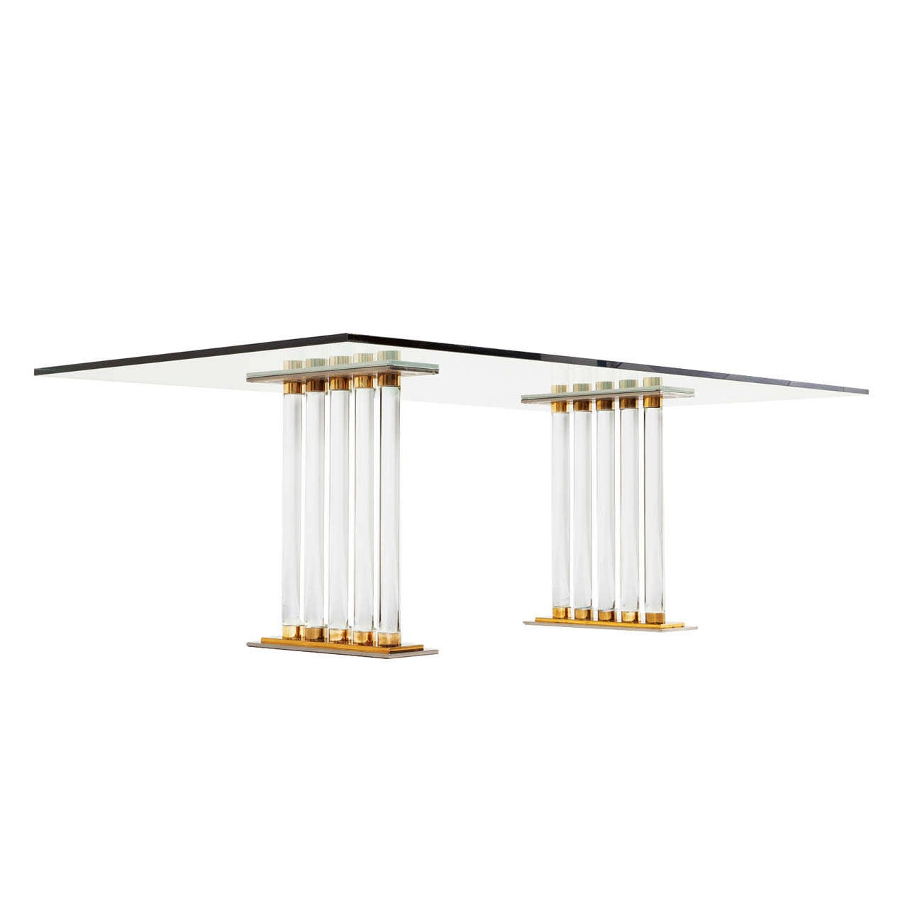 Lucite Glass And Brass Dining Table Italy At 1stdibs