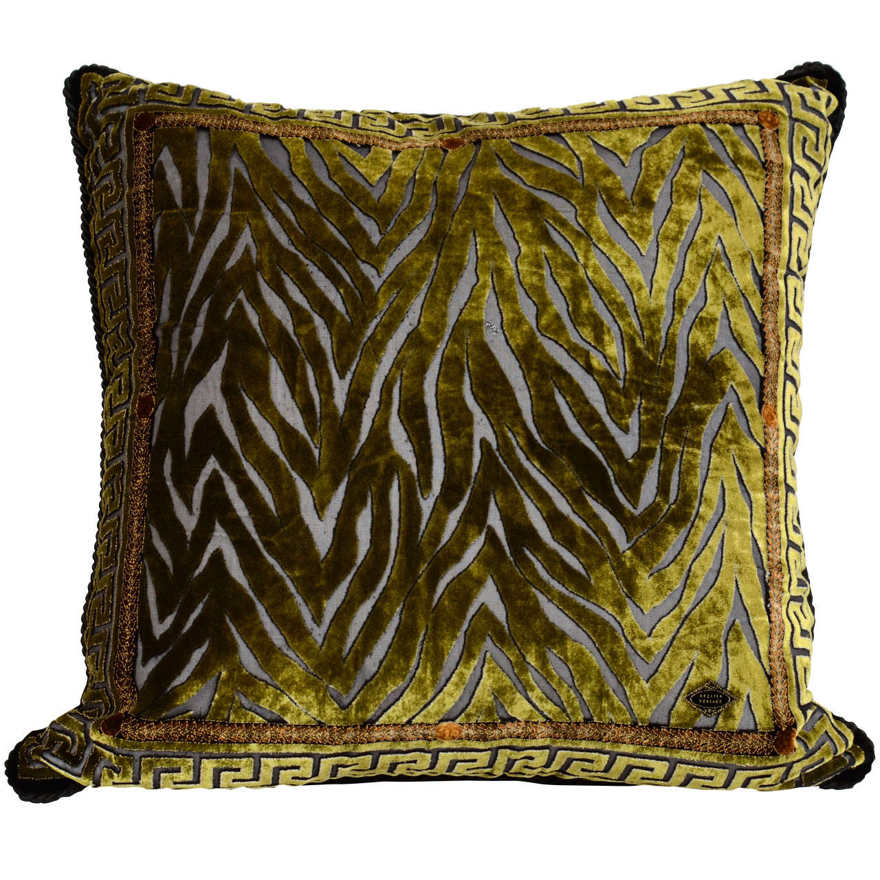 Vintage Atelier Versace Moss Green Velvet Pillow With