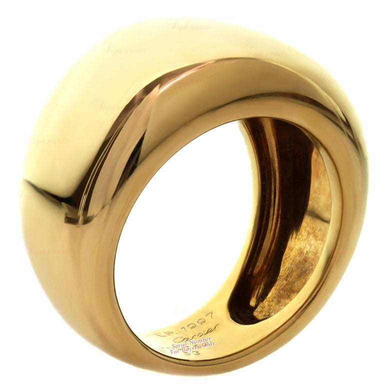 CARTIER Unisex Yellow Gold Wide Dome Band At 1stdibs