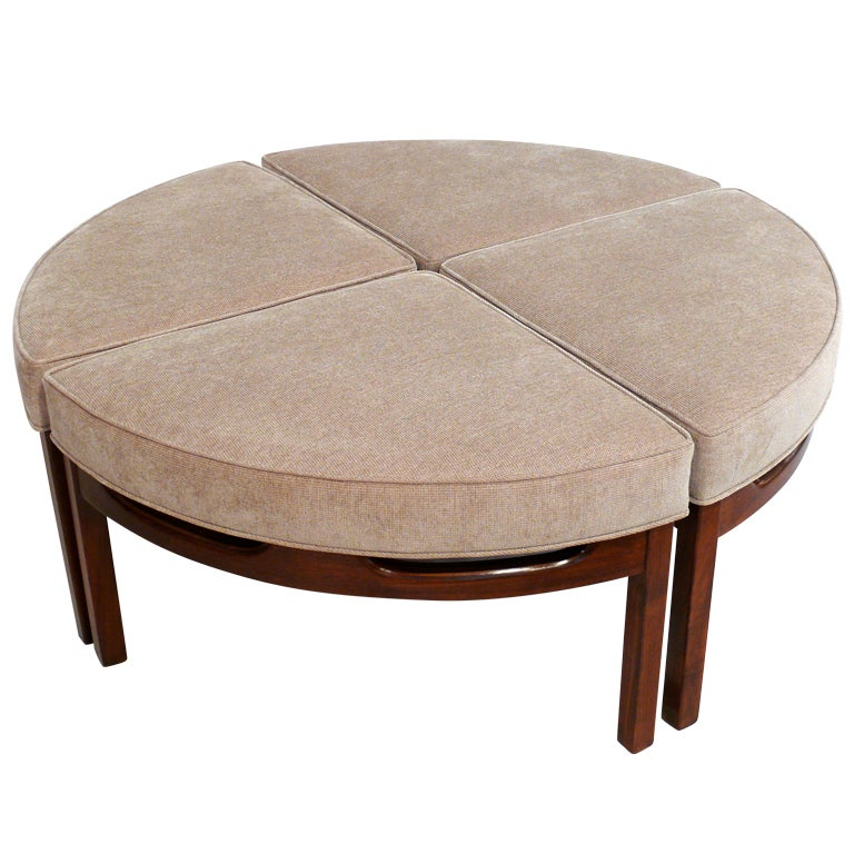 Mid Century Upholstered Sectional OttomanCocktail Table
