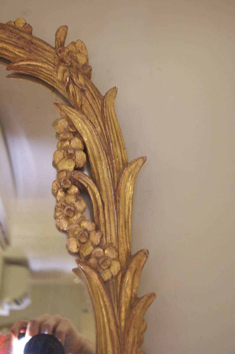 Elegant Large Gold Leaf Carved Mirror At 1stdibs