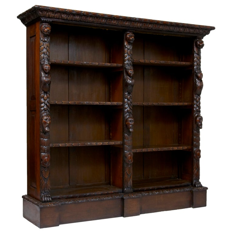 19th Century Antique Carved Oak Bookcase At 1stdibs