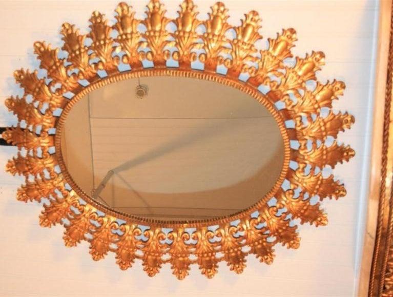Vintage Italian Gold Gilt Metal Sunburst Mirror And Marble