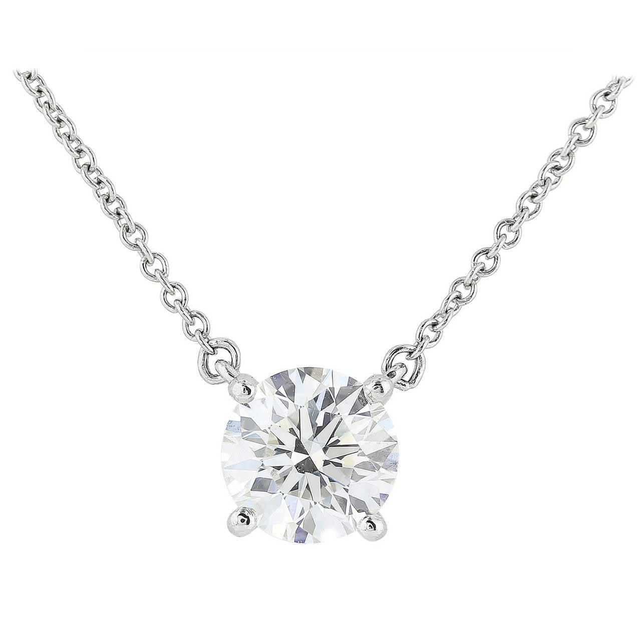 Tiffany And Co 1 23 Carat Diamond Platinum Pendant At 1stdibs