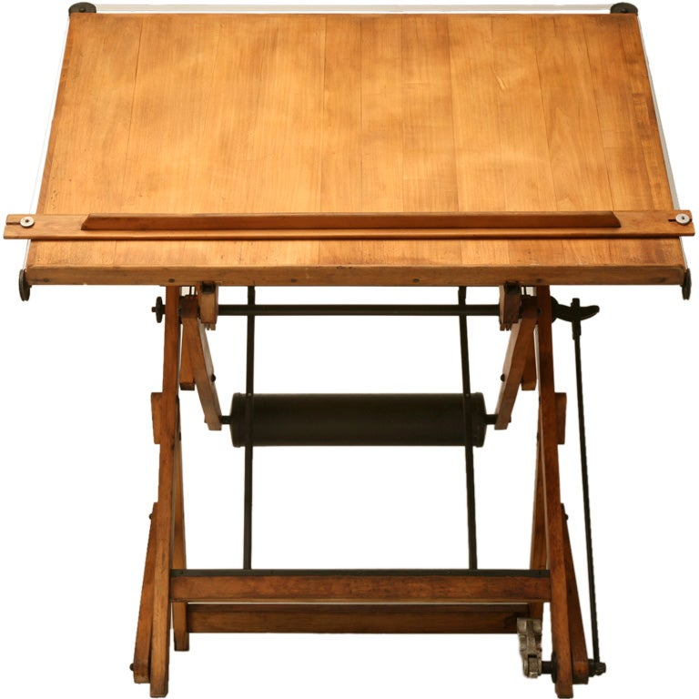 c.1930 Vintage French Architect's Drafting Table